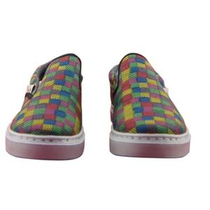 """NEW WOMENS CANVAS SLIP-ON SNEAKERS /""""NEW VINTAGE/"""" MULTICOLOR SQUARES TEXTURE"""